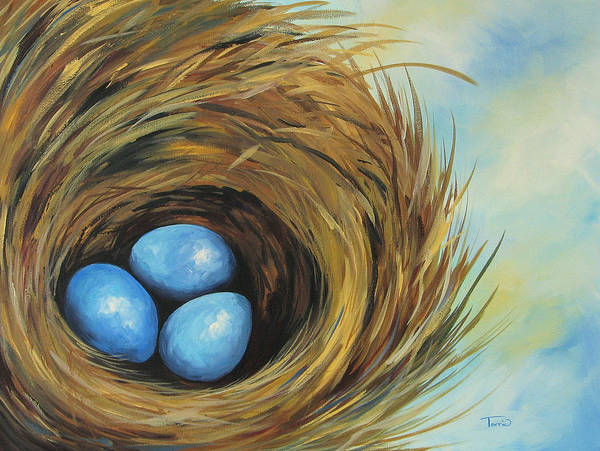 Blue Art Print featuring the painting Robin's Three Eggs II by Torrie Smiley