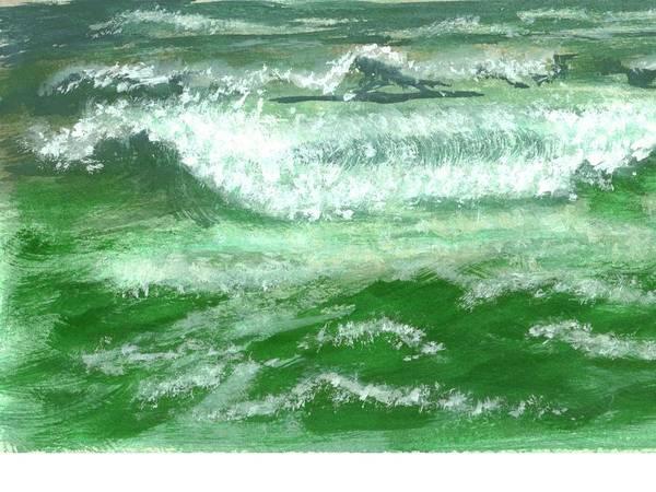 Ocean Art Print featuring the painting Rolling Ocean Waves by Rhonda Myers