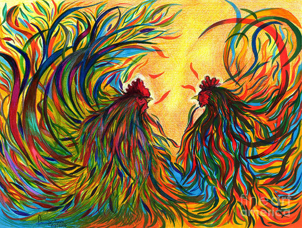 Roosters Art Print featuring the mixed media Roosters Frienship by Fanny Diaz
