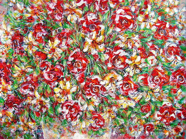 Red Roses Art Print featuring the painting Roses For You by Natalie Holland
