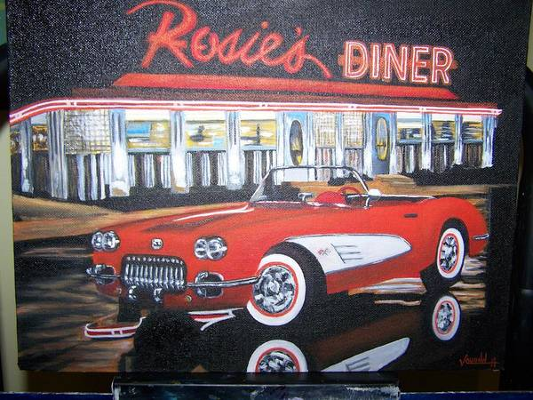 Cars Art Print featuring the painting Rosie by Charles Vaughn