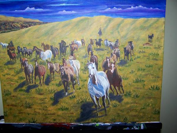Horses Art Print featuring the painting Roundup by Charles Vaughn