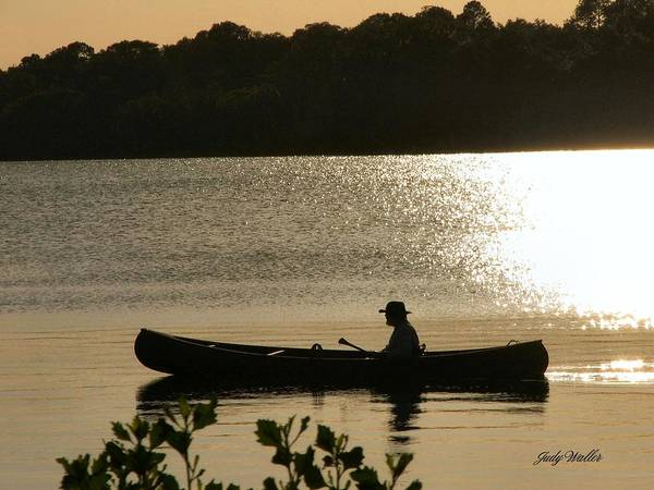Water Art Print featuring the photograph Rowing On The Lake by Judy Waller