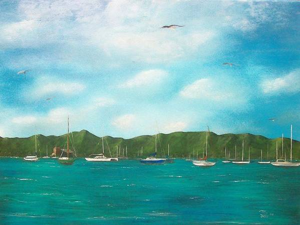 Seascapes Art Print featuring the painting Sailboats In Harbor by Tony Rodriguez