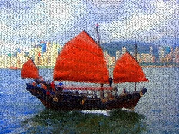 Mosaic Art Print featuring the photograph Sailing On The East by Roberto Alamino