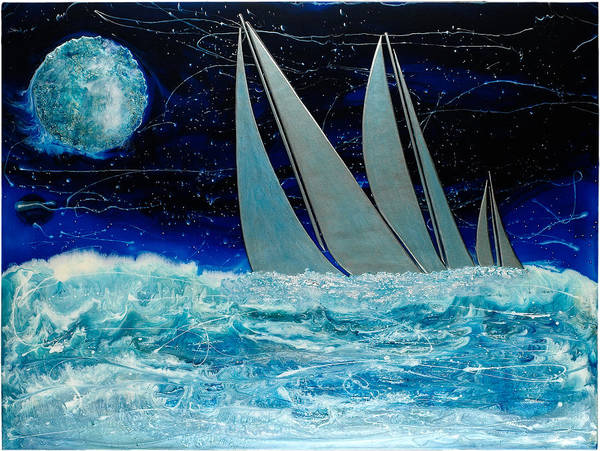 Surrealism Art Print featuring the painting Sailors Night Race by Paul Tokarski
