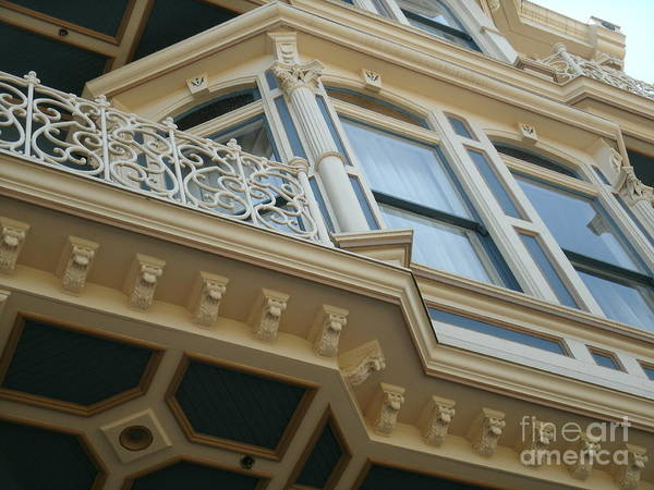 San Diego Victorian Architecture Ornate Windows Art Print featuring the photograph San Diego Blue by Jacqueline Manos