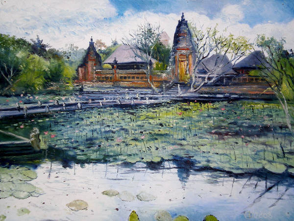 Indonesia Art Print featuring the painting Saraswati Water Temple Ubud Bali Indonesia 2008 by Enver Larney