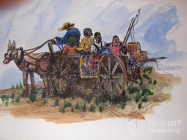 African American Art Art Print featuring the painting Saturday Morning Ride by Ethel Dixon
