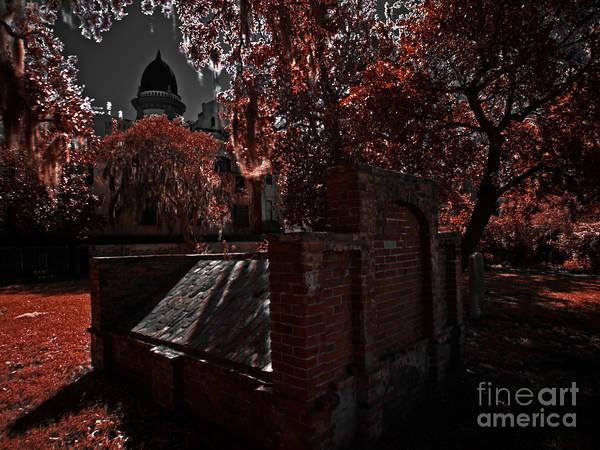 Savannah Art Print featuring the photograph Savanna Georia Colonial Park Cemetery Color Infrared 500 by Rolf Bertram