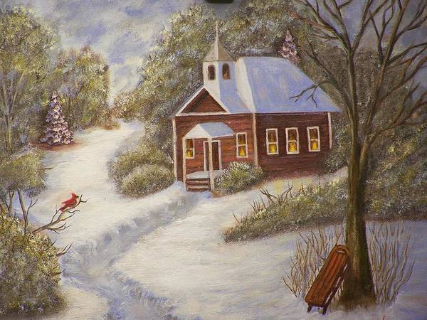 Snowscene Art Print featuring the painting Schools Out by Charles Vaughn