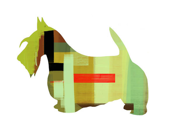Scottish Terrier Print featuring the painting Scottish Terrier by Naxart Studio