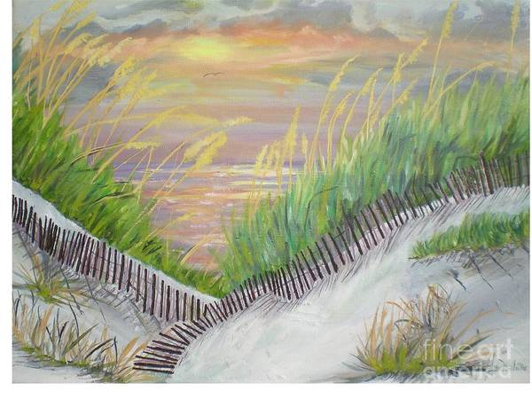Seascape Art Print featuring the painting Sea Oats by Hal Newhouser