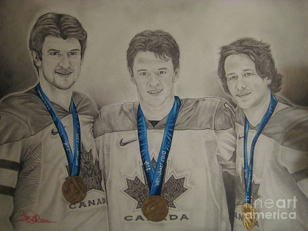 Hockey Art Print featuring the drawing Seabrook Toews Keith Gold Medal by Brian Schuster