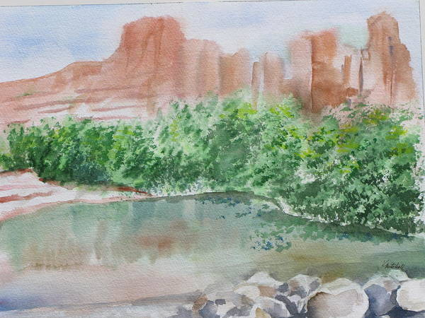 Landscape Art Print featuring the painting Sedona Reflections by Kathy Mitchell