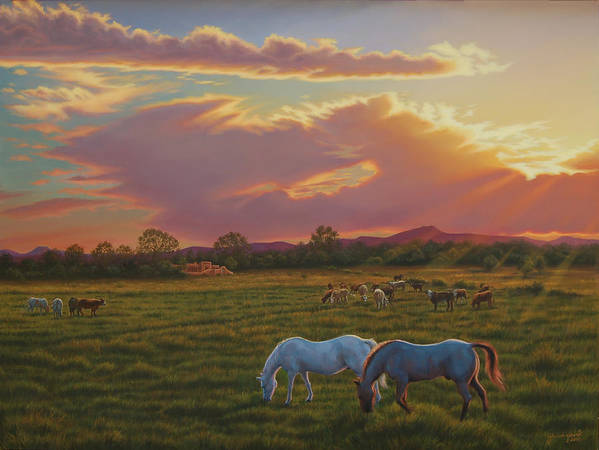 Southwest Art Print featuring the painting September Sunset In Taos by Johanna Girard