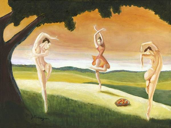 Dance Art Print featuring the painting Shall We by Juan Romagosa