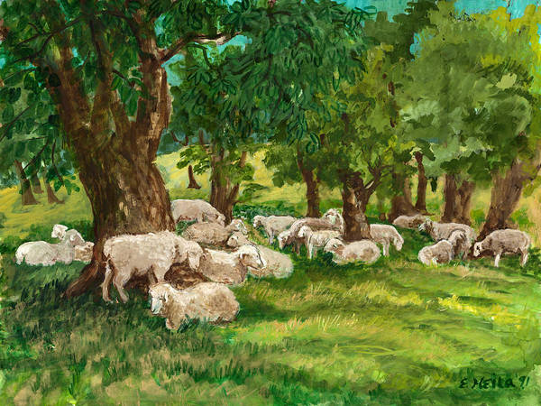 Sheep Art Print featuring the painting Sheep Pasture Ithaca New York by Ethel Vrana