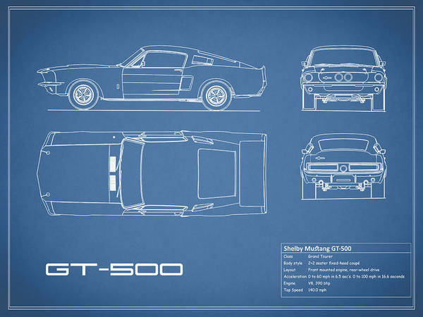 Shelby mustang gt500 blueprint art print by mark rogan ford mustang art print featuring the photograph shelby mustang gt500 blueprint by mark rogan malvernweather Gallery