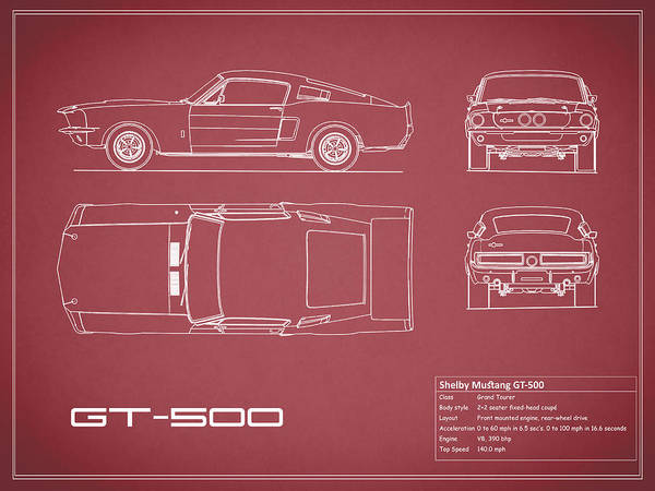 Shelby mustang gt500 blueprint red art print by mark rogan ford mustang art print featuring the photograph shelby mustang gt500 blueprint red by mark rogan malvernweather Choice Image