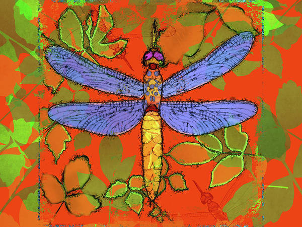 Dragonfly Art Print featuring the digital art Shining Dragonfly by Mary Ogle