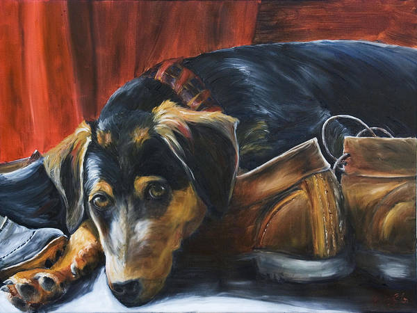 Dog Art Print featuring the painting Shoe Dog by Nik Helbig