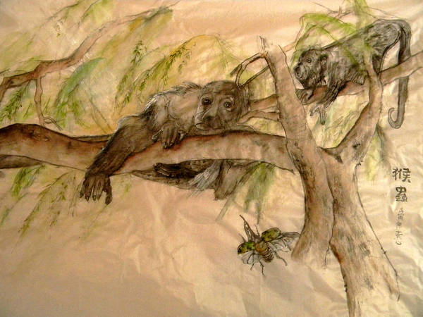 Monkey Art Print featuring the painting Simian And Beetle by Debbi Saccomanno Chan