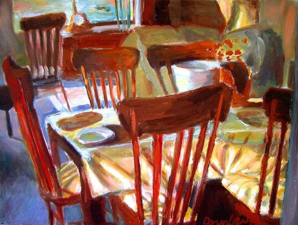 Dornberg Art Print featuring the painting Six Chairs by Bob Dornberg