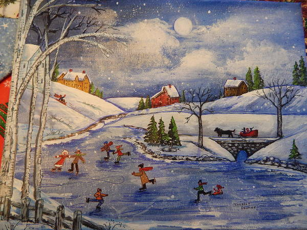 Ice Skaters Art Print featuring the painting Winter Fun Part 2 by Theresa Prokop