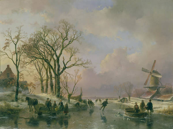 Skating Art Print featuring the painting Skating In Holland by Andreas Schelfhout