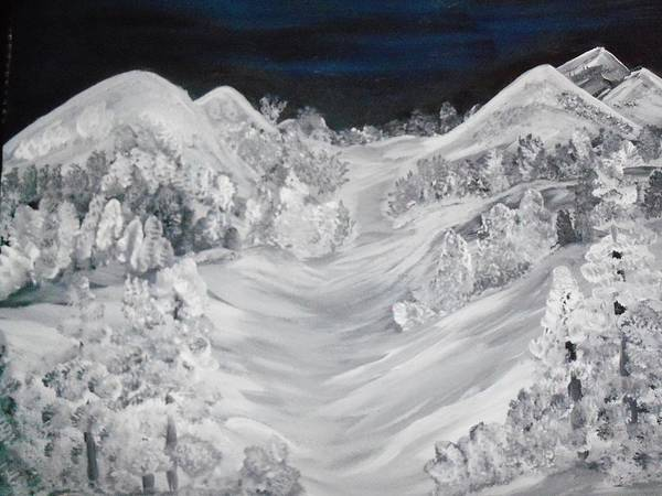 Landscapes Of Pure White Snow Art Print featuring the painting Ski Slope by Teresa Nash