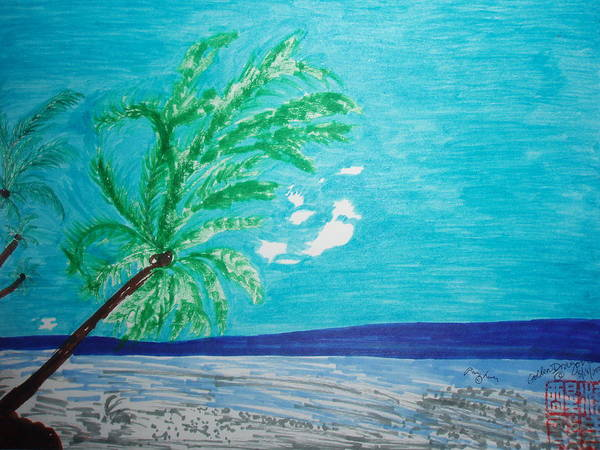 Palm Trees Art Print featuring the painting Sky Blue Palm Tree Beach by Golden Dragon