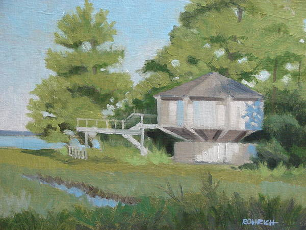 Elevated House Art Print featuring the painting Sky Loft House by Robert Rohrich