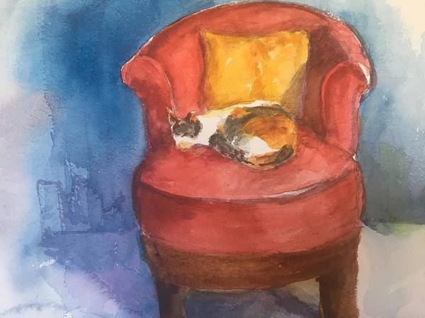 Watercolor Art Print featuring the mixed media Sleeping Calico by Iva Fendrick