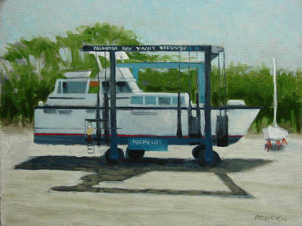 Boats Art Print featuring the painting Slow Boat by Robert Rohrich