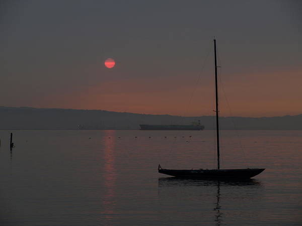 Sea Art Print featuring the photograph Smoky Sunrise by Laura Allenby