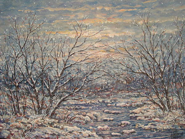 Landscape Art Print featuring the painting Snow By Brook. by Leonard Holland