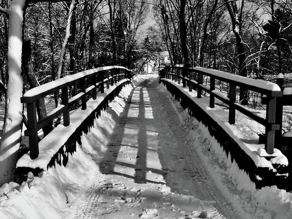 Black And White Art Print featuring the painting Snow Covered Bridge by Daniel Carvalho