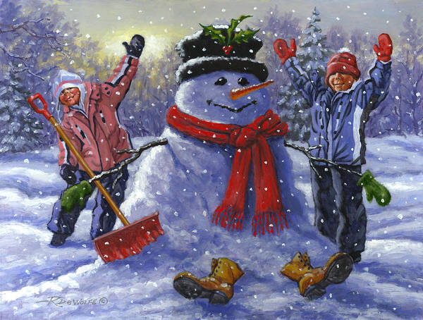 Snowman Art Print featuring the painting Snow Day by Richard De Wolfe