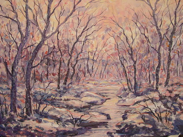 Landscape Art Print featuring the painting Snow In The Woods. by Leonard Holland