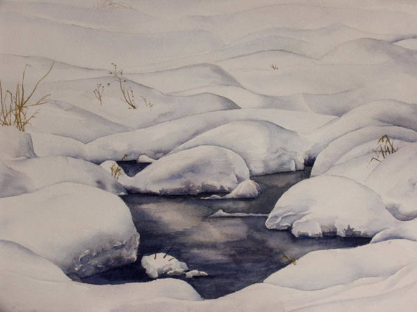 Snow Art Print featuring the painting Snow Pool by Debbie Homewood