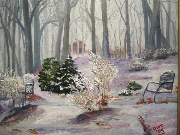 Snow Art Print featuring the painting Snowy Morning by Gloria Condon