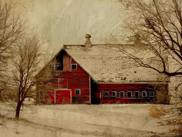 Red Art Print featuring the digital art South Dakota Barn by Julie Hamilton
