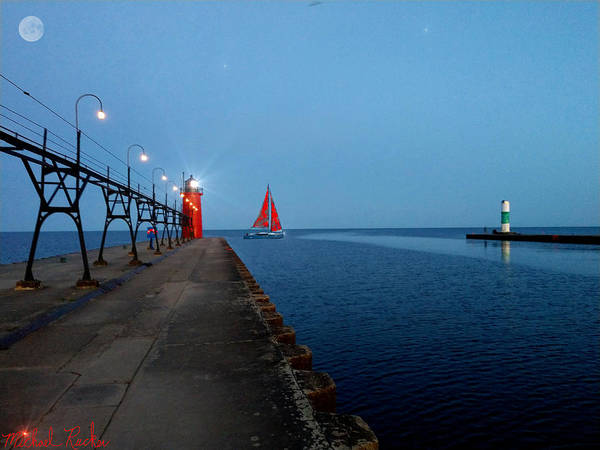 South Haven Art Print featuring the photograph South Haven Lighthouse Pier by Michael Rucker