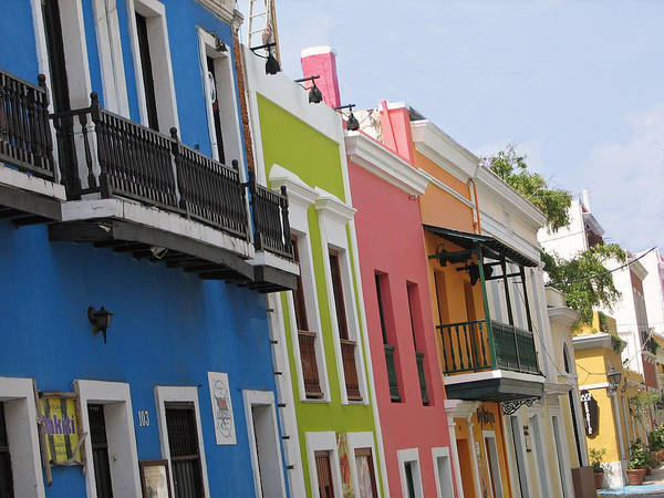 Spanish Rainbow Puerto Rico Buildings House Houses Landscape Colorful Art Print featuring the photograph Spanish Raindow by Kat Dee
