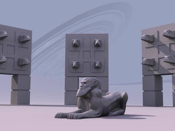 Surreal Art Print featuring the digital art Sphinx by Mariusz Loszakiewicz