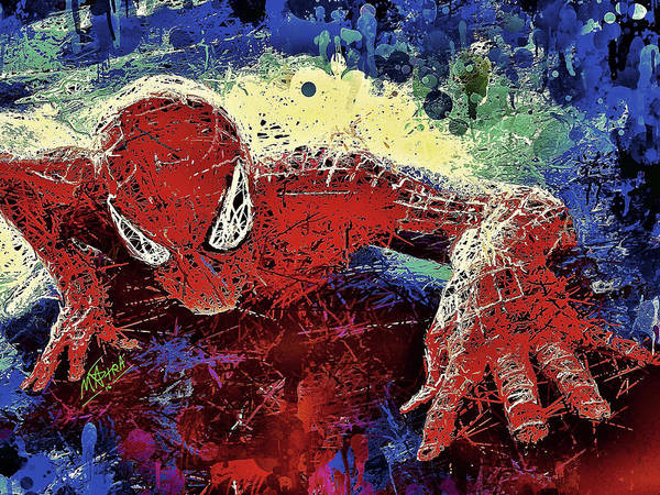 Spider Art Print featuring the mixed media Spiderman Climbing by Al Matra