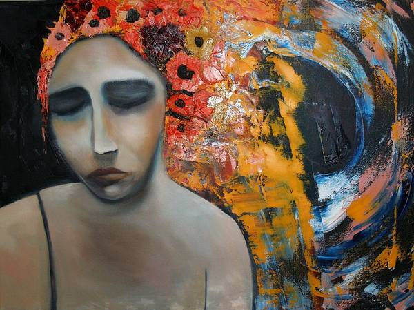 Girl Art Print featuring the painting Split Sadness by Niki Sands