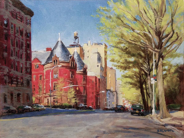 New York Art Print featuring the painting Spring Afternoon, Central Park West by Peter Salwen