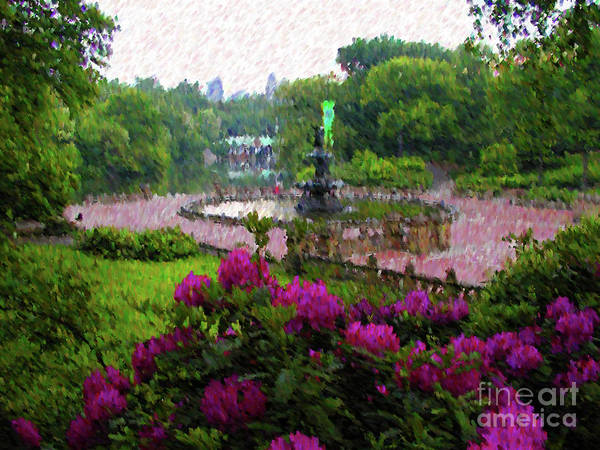 Central Park New York Art Print featuring the mixed media Spring by John-Marc Grob